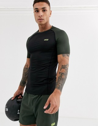Asos 4505 4505 muscle training t-shirt with contrast raglan and quick dry-Green