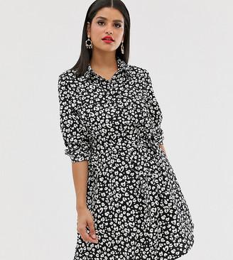 Brave Soul Tall alenia shirt dress in animal print