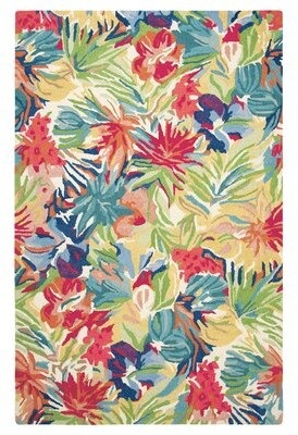 Company C Hibiscus Floral Handmade Tufted Wool Red/Green Area Rug CompanyC Rug Size: Rectangle 3' x 5'