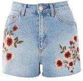 Topshop Moto blossom embroidered mom shorts