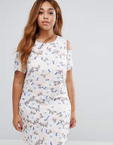 Koko Plus Shift Dress With Cold Shoulder In Floral Print
