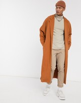 Asos Design ASOS DESIGN extreme oversized jersey duster jacket in brown