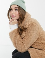 Thumbnail for your product : Brave Soul tasmin teddy coat in biscuit