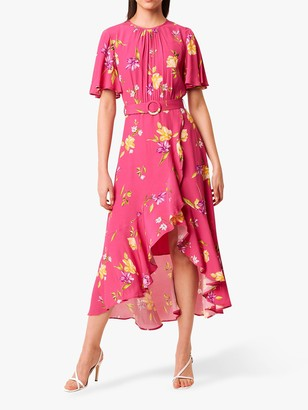 French Connection Emina Floral Print Draped Dress, Very Berry/Multi
