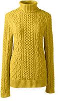 Classic Women's Lofty Blend Aran Cable Turtleneck Sweater-Soft Gray Heather