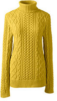 Classic Women's Petite Lofty Blend Aran Cable Turtleneck Sweater-Chesterfield