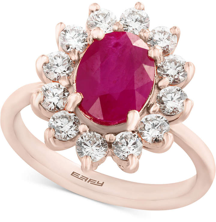 Effy Amore by Certified Ruby (1-9/10 ct. t.w.) and Diamond (9/10 ct. t.w.) Ring in 14k Rose Gold, Created for Macy's