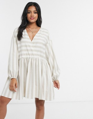 ASOS DESIGN casual oversized mini smock dress in natural stripe