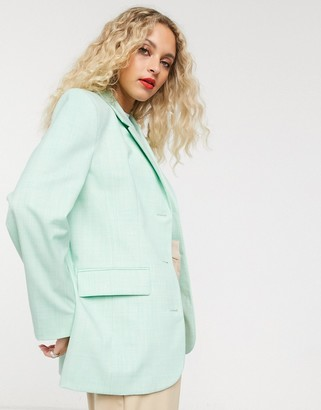 And other stories & oversized textured blazer in pistachio green
