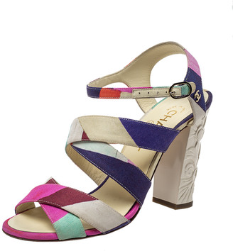 Chanel Multicolor Fabric Strappy Sculpture Heel Ankle Strap Sandals Size 38.5
