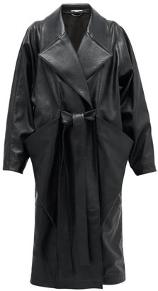 Stella McCartney Belted Double-breasted Faux-leather Coat - Womens - Black