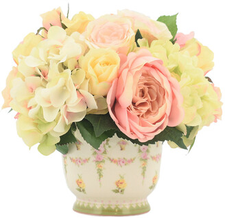 Creative Displays Peonies & Hydrangea Arrangment In Ceramic Flower Vase
