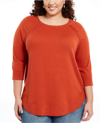 Style&Co. Style & Co Plus Size Lace-Up Chevron-Trim Sweater