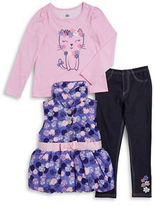 Kids Headquarters Girls 2-6x Patterned Puffer Vest, Kitty Tee and Leggings Set