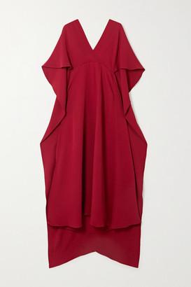 Valentino Cape-effect Lace-trimmed Silk Crepe De Chine Dress - Crimson
