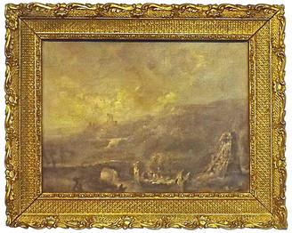 One Kings Lane Vintage Antique Ruins Landsccape Oil Painting - Vermilion Designs - multi; frame, gold