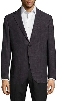 Saks Fifth Avenue Made In Italy Modern-Fit Wool Linen Check Jacket
