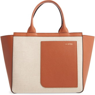 Valextra Mini Canvas & Leather Tote