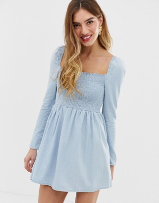 Asos Design DESIGN denim shirred mini smock dress in lightwash blue