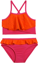 Pink Platinum Coral & Pink Ruffle-Accent Bikini - Infant Toddler & Girls