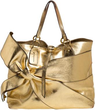 Valentino Metallic Gold Leather Bow Shopper Tote