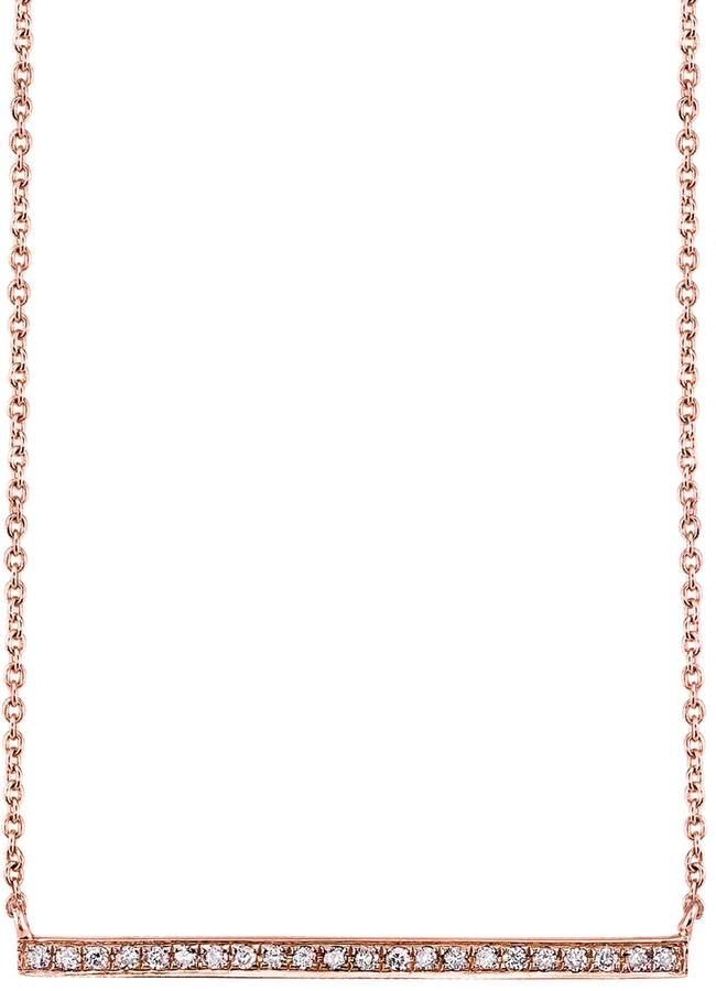 Sydney Evan Rose Gold and Diamond Long Bar Necklace