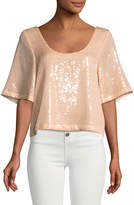 Free People Night-Fever Sequined Crop Tee
