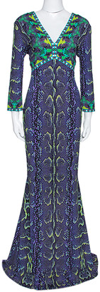 Roberto Cavalli Purple Snakeskin Print Stretch Jersey Maxi Dress L
