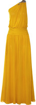 Roberto Cavalli One-shoulder Embellished Silk-georgette Gown - Saffron