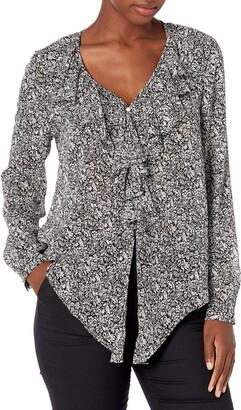 Karen Kane Women's Leaf Print Tie-Front Ruffle Top S