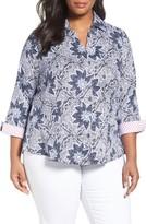 Foxcroft Plus Size Women's Taylor Non-Iron Print Cotton Shirt