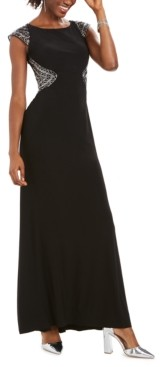 Vince Camuto Embellished Cap-Sleeve Gown