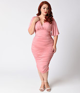 Kiyonna Plus Size Rose Quartz Ruched Rumor Wiggle Dress