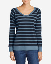 Eddie Bauer Women's Legend Wash Long-Sleeve V-Neck Sweatshirt - Stripe