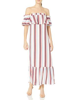 Lucca Couture Women's Stripe Strapless Ruffle Maxi Dress