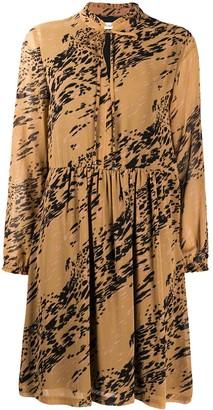 Calvin Klein Printed Long-Sleeved Midi Dress