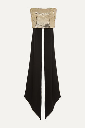 Alex Perry Bennet Cropped Draped Sequinned Crepe Top - Gold