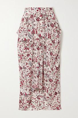 Isabel Marant Ginkinali Draped Floral-print Silk Crepe De Chine Midi Skirt - Ecru