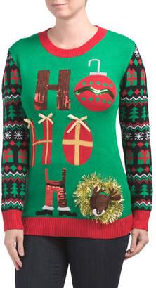 Juniors Christmas Ho Ho Ho Sweater