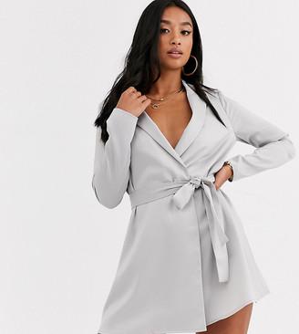 Asos DESIGN Petite satin tux mini dress with self belt