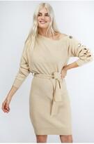 Thumbnail for your product : Little Mistress Mika Cream Slash-Neck Knit Dress