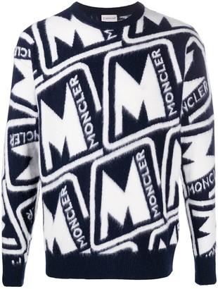 Moncler Logo-Jacquard Crew-Neck Jumper
