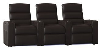 Magnum Red Barrel Studio HR Series Home Theater Recliner (Row of 3) Red Barrel Studio Body Fabric: Classic Coffee