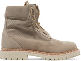 Balmain Suede Ankle Boots - Beige