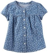 Osh Kosh Girls 4-8 Floral Chambray Shirt