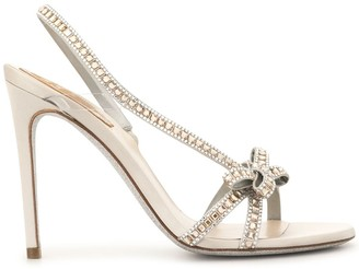 Rene Caovilla Crystal Embellished Strappy Bow Sandals