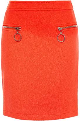 Moschino Zip-embellished Wool-blend Crepe Mini Skirt