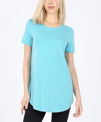 Ash Zenana Women's Tee Shirts  Mint Round-Hem Crewneck Tee - Women & Plus