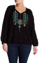 Jessica Simpson Long Sleeve Front Tie Blouse (Plus Size)