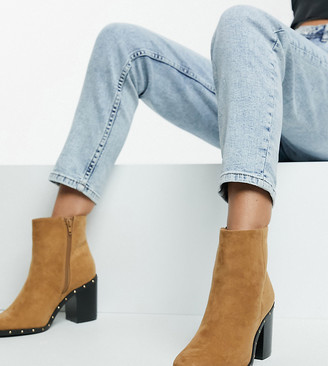 Simply Be extra wide fit block heel ankle boots in tan